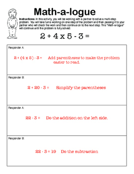 Collaborative Interactive Problem Solving Freebie: Math-a-Logue