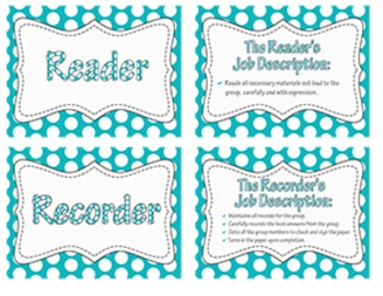 Collaborative Learning ~ Group Role Task Cards {Turquoise Polka Dots}