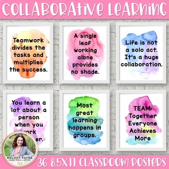 Collaborative Learning Quote Posters in Print {36 Watercolor Class Decor Signs}