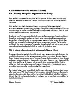 Writing Peer Feedback Activity (literary analysis / analytical essay)