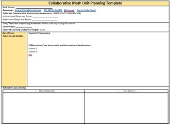 Collaborative Planning Math Unit Template