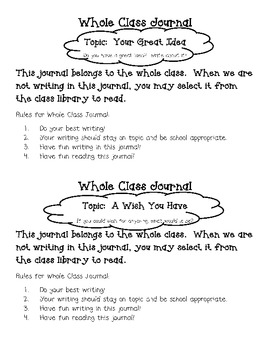 Collaborative Whole Class Writing Journals
