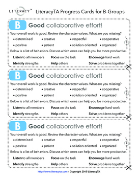 Collaborative Work Rubric Progress Cards