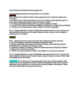 Collaborative argumentative writing assignment