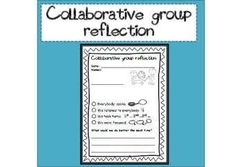 Collaborative group reflection sheet