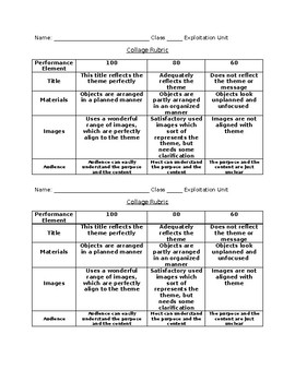 Collage Rubric (non-fiction)