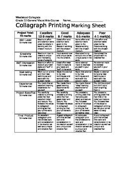 Collagraph Printing Marking Sheet