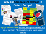 Collapse of Communism - 9-page full lesson (notes, jenga/card sort, wordsearch)