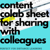 Colleague Collaboration Sheet - All your resources in one place to share for DL