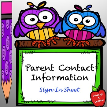 Parent Contact Information Sign In Sheet
