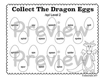 Collect The Dragon Eggs: Articulation Smash Mats Bundle for Consonant Clusters!