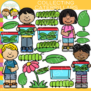 Collecting Caterpillars Clip Art