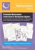 Collecting Like Terms and Factor & Expand Algebra Worksheets