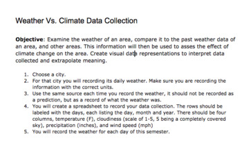 Collecting Weather Data