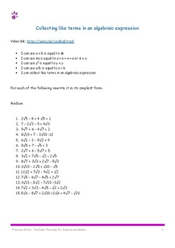 Collecting like terms in an algebraic expression. 30 questions and answers
