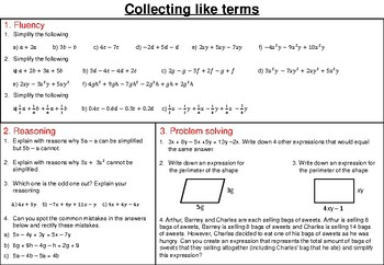 Collecting like terms - mastery worksheet