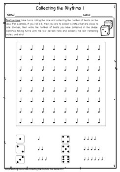 Collecting the Rhythms Dice Game