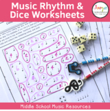 Music Rhythm & Dice Worksheets