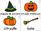 FRENCH Halloween Vocabulary Cards (Cartes de vocabulaire - L'Halloween)