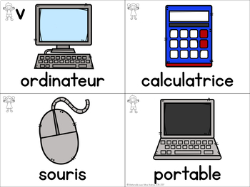 FRENCH School Themed Vocabulary Cards (cartes de vocabulaire - l'école)