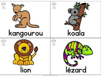 FRENCH Animal Vocabulary Cards (cartes de vocabulaire - les animaux)