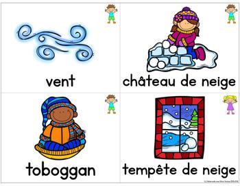 FRENCH Winter Vocabulary Cards - Cartes de vocabulaire (Hiver)