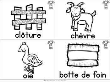 FRENCH Farm Vocabulary Cards (cartes de vocabulaire - la ferme)
