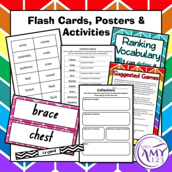Collection Vocabulary Pack- Word Lists, Flash Cards & Activities
