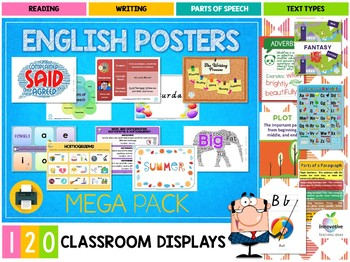 120 Essential English Posters for Elementary & Primary Students