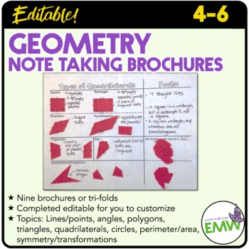 Collection of 8 Geometry Note Taking Brochures or Trifolds - FULLY EDITABLE!
