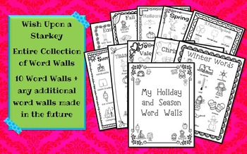 Collection of Holiday and Seasonal Word Walls for Daily 5 Portfolios or Journals