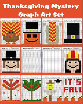 Collection of TEN Thanksgiving Mystery Graph Art Worksheets