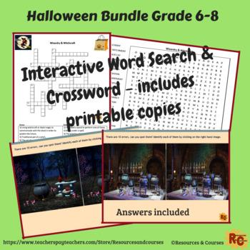 Halloween Interactive Games & Puzzles Bundle 6th-8th Grade