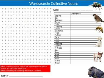 Collective Animal Nouns #2 Wordsearch Puzzle Sheet Keywords English Language