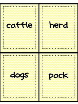 Collective Noun Matching Game or Activity