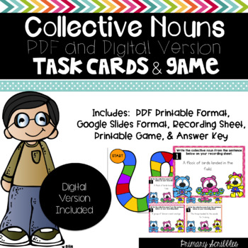Collective Noun Task Cards and Game (Digital Version Included)