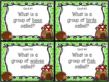 Collective Noun Task Cards and Worksheets