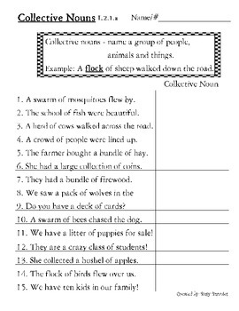 Collective Nouns 2nd grade Common Core Worksheet