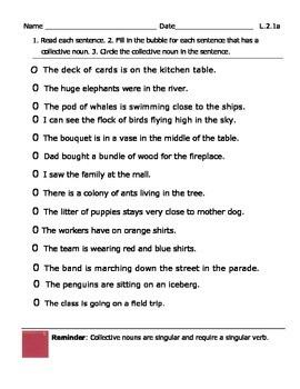 Collective Nouns  Assessment