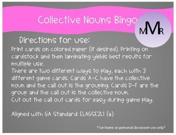 Collective Nouns Bingo