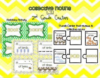 Collective Nouns Centers- L.2.1 2nd Grade Common Core