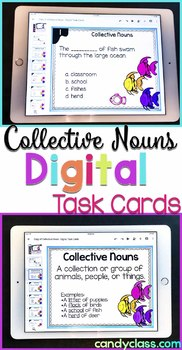 Collective Nouns Task Cards: 2nd Grade Grammar Centers for Google Classroom Use