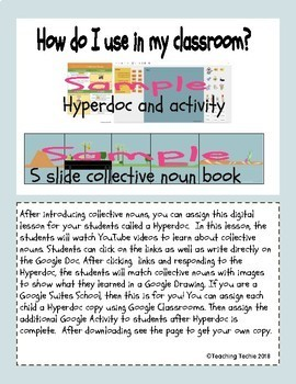 Collective Nouns Hyperdoc and Google Slides Book