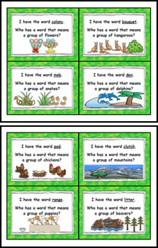 "Collective Nouns ""I Have Who Has"" Read-Around Game"