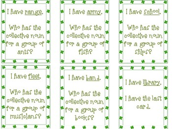Collective Nouns I Have, Who Has - St. Patty's edition