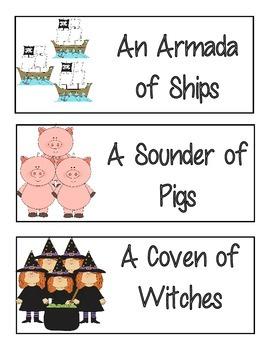 Collective Nouns Mini Poster Set