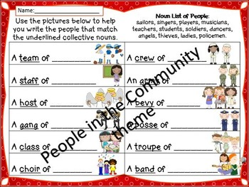 Collective Nouns - posters and worksheets - Farm theme - Community Helpers theme