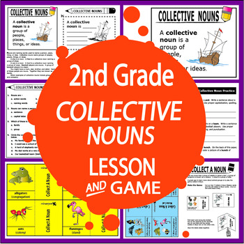 Collective Nouns Activities + COMPLETE Lesson, Poster, and FULL COLOR Game