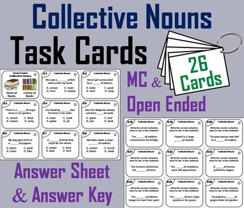 Collective Nouns Task Cards 2nd 3rd 4th Grade