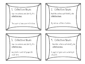 Collective Nouns Task Cards - Common Core Aligned